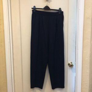 St John navy Santana knit elastic waist crop pants